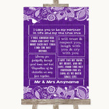 Purple Burlap & Lace Romantic Vows Customised Wedding Sign