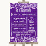 Purple Burlap & Lace Rules Of The Dance Floor Customised Wedding Sign