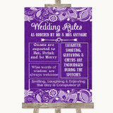 Purple Burlap & Lace Rules Of The Wedding Customised Wedding Sign