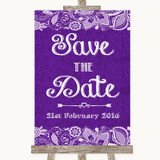Purple Burlap & Lace Save The Date Customised Wedding Sign