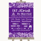 Purple Burlap & Lace Signature Favourite Drinks Customised Wedding Sign