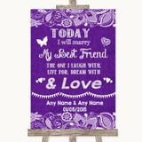 Purple Burlap & Lace Today I Marry My Best Friend Customised Wedding Sign