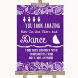 Purple Burlap & Lace Toiletries Comfort Basket Customised Wedding Sign