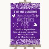 Purple Burlap & Lace Wedpics App Photos Customised Wedding Sign