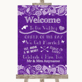 Purple Burlap & Lace Welcome Order Of The Day Customised Wedding Sign