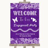 Purple Burlap & Lace Welcome To Our Engagement Party Customised Wedding Sign