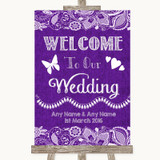 Purple Burlap & Lace Welcome To Our Wedding Customised Wedding Sign
