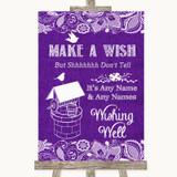 Purple Burlap & Lace Wishing Well Message Customised Wedding Sign