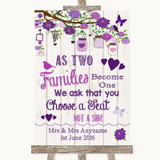 Purple Rustic Wood As Families Become One Seating Plan Customised Wedding Sign