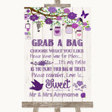 Purple Rustic Wood Grab A Bag Candy Buffet Cart Sweets Customised Wedding Sign