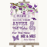 Purple Rustic Wood Guestbook Advice & Wishes Mr & Mrs Customised Wedding Sign