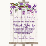 Purple Rustic Wood Photo Guestbook Friends & Family Customised Wedding Sign