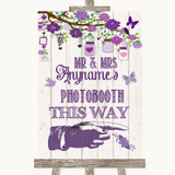 Purple Rustic Wood Photobooth This Way Right Customised Wedding Sign