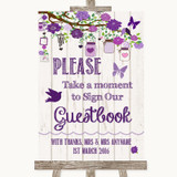 Purple Rustic Wood Take A Moment To Sign Our Guest Book Wedding Sign