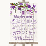 Purple Rustic Wood Welcome Order Of The Day Customised Wedding Sign