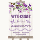 Purple Rustic Wood Welcome To Our Engagement Party Customised Wedding Sign