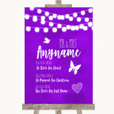 Purple Watercolour Lights Important Special Dates Customised Wedding Sign