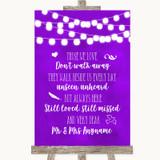 Purple Watercolour Lights In Loving Memory Customised Wedding Sign
