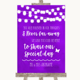 Purple Watercolour Lights In Our Thoughts Customised Wedding Sign