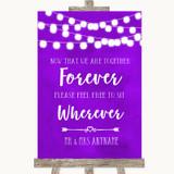 Purple Watercolour Lights Informal No Seating Plan Customised Wedding Sign