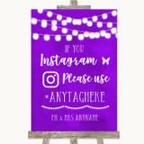 Purple Watercolour Lights Instagram Hashtag Customised Wedding Sign