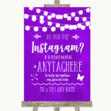 Purple Watercolour Lights Instagram Photo Sharing Customised Wedding Sign