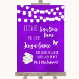 Purple Watercolour Lights Jenga Guest Book Customised Wedding Sign