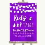 Purple Watercolour Lights Kids Table Customised Wedding Sign