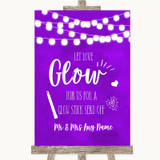 Purple Watercolour Lights Let Love Glow Glowstick Customised Wedding Sign