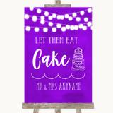 Purple Watercolour Lights Let Them Eat Cake Customised Wedding Sign