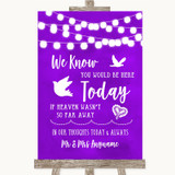 Purple Watercolour Lights Loved Ones In Heaven Customised Wedding Sign