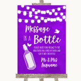 Purple Watercolour Lights Message In A Bottle Customised Wedding Sign