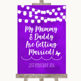 Purple Watercolour Lights Mummy Daddy Getting Married Customised Wedding Sign