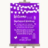 Purple Watercolour Lights No Phone Camera Unplugged Customised Wedding Sign