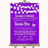 Purple Watercolour Lights Photo Guestbook Friends & Family Wedding Sign