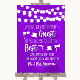 Purple Watercolour Lights Photo Prop Guestbook Customised Wedding Sign