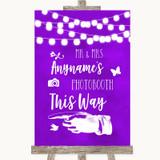 Purple Watercolour Lights Photobooth This Way Left Customised Wedding Sign