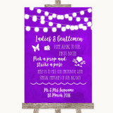 Purple Watercolour Lights Pick A Prop Photobooth Customised Wedding Sign