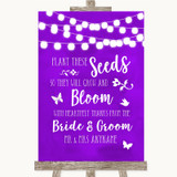 Purple Watercolour Lights Plant Seeds Favours Customised Wedding Sign