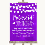 Purple Watercolour Lights Polaroid Guestbook Customised Wedding Sign