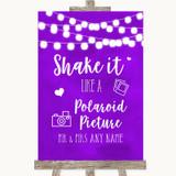 Purple Watercolour Lights Polaroid Picture Customised Wedding Sign