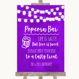 Purple Watercolour Lights Popcorn Bar Customised Wedding Sign