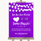 Purple Watercolour Lights Puzzle Piece Guest Book Customised Wedding Sign
