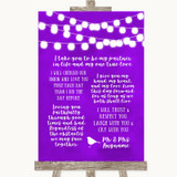 Purple Watercolour Lights Romantic Vows Customised Wedding Sign