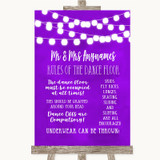 Purple Watercolour Lights Rules Of The Dance Floor Customised Wedding Sign