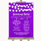 Purple Watercolour Lights Rules Of The Wedding Customised Wedding Sign