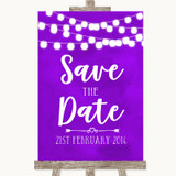Purple Watercolour Lights Save The Date Customised Wedding Sign