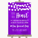 Purple Watercolour Lights Sign a Heart Customised Wedding Sign