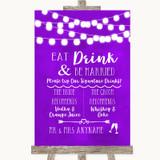 Purple Watercolour Lights Signature Favourite Drinks Customised Wedding Sign