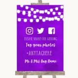 Purple Watercolour Lights Social Media Hashtag Photos Customised Wedding Sign
